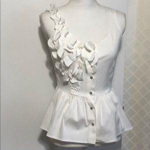 White New York & Company white peplum top
